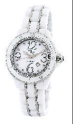 LP Italy Celano Women's White Ceramic Diamond Watch