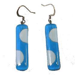 Rectangular Light Blue Dot Fused Glass Earrings (Chile)