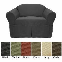 Elegant Ribbed Chair Slipcover - Thumbnail 1