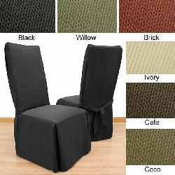 Elegant Ribbed Dining Chair Covers (Set of 2) - Thumbnail 1