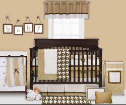 Bacati Metro Khaki/ White/ Chocolate 4-piece Toddler Bedding Set