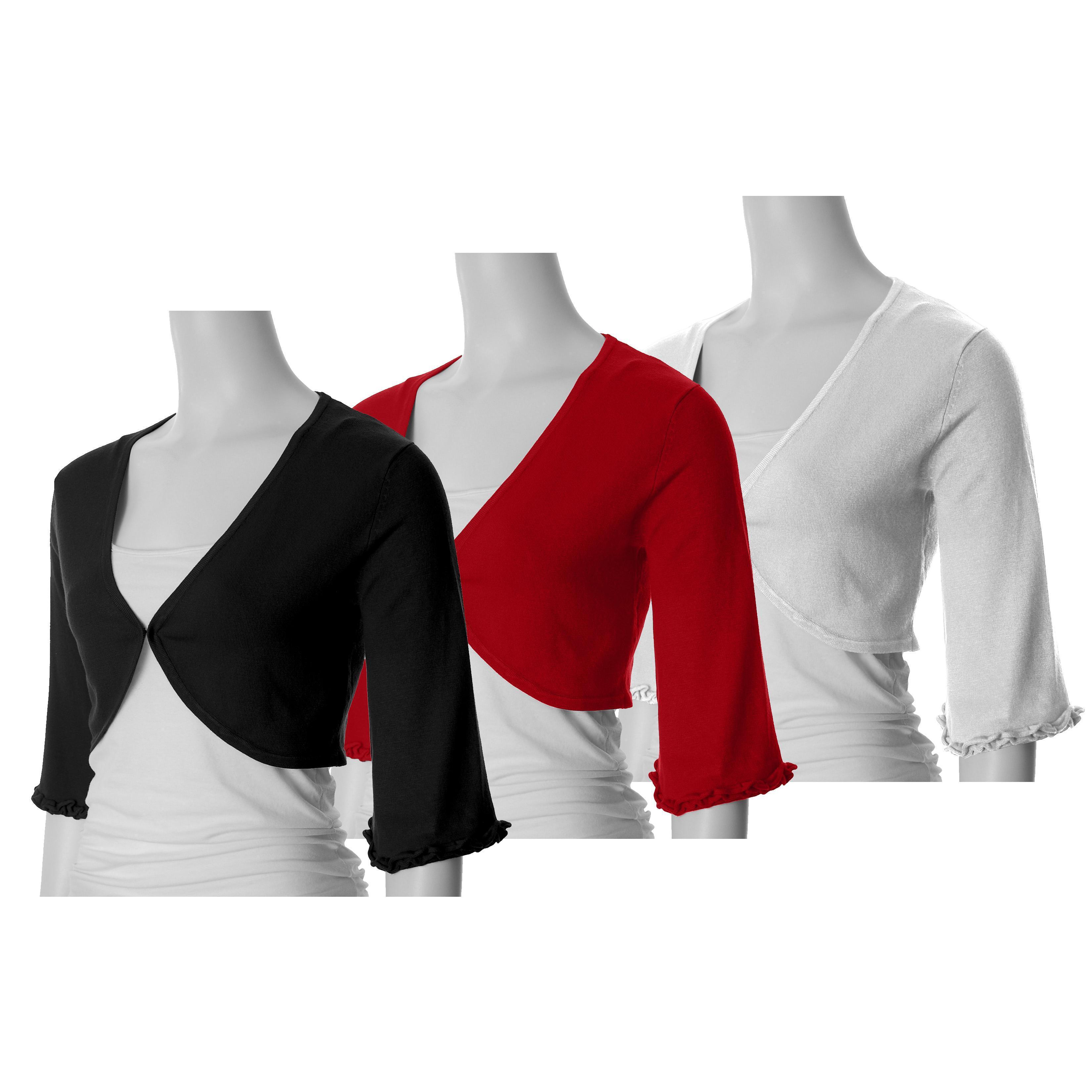 Sangria Women's 3/4-sleeve Cropped Bolero Sweater