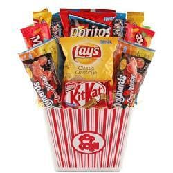 Snack Attack Candy Basket with Reusable Acrylic Popcorn Container - Thumbnail 1