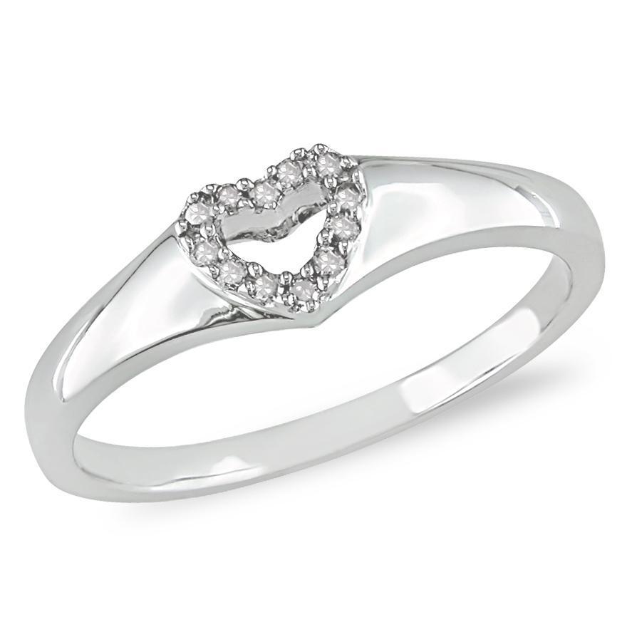Miadora 10k White Gold Diamond Open Heart Ring
