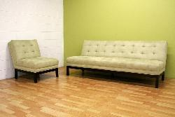 Light Seafoam Green Microfiber Sofa and Chair Set - Thumbnail 1