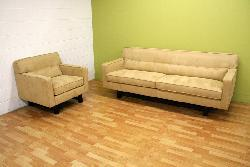 Microfiber Camel-colored Retro Sofa Set - Thumbnail 1
