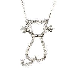Thumbnail 2, Sterling Silver 1/10ct TDW Diamond Cat Necklace. Changes active main hero.