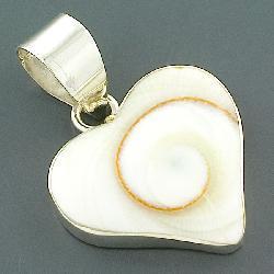 Sterling Silver Shiva Shell Heart-shape Pendant (Indonesia) - Thumbnail 2
