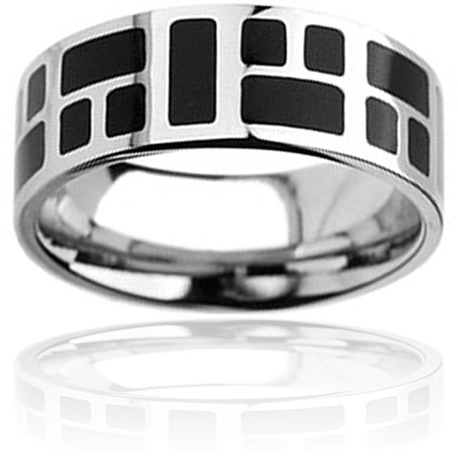 West Coast Jewelry Stainless Steel Black-plated Square Design Ring
