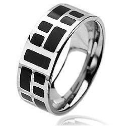 West Coast Jewelry Stainless Steel Black-plated Square Design Ring - Thumbnail 1