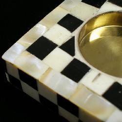 Checkered Bone Votive Holder (India) - Thumbnail 1