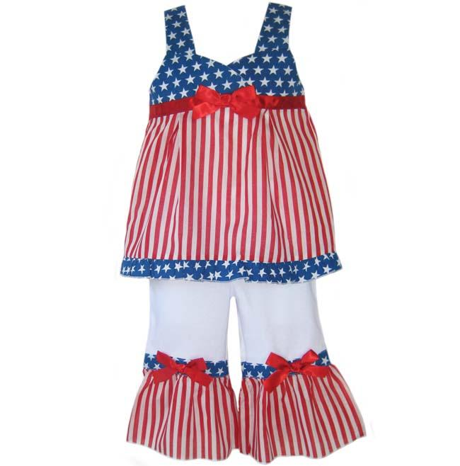 AnnLoren Girls Patriotic 4th of July Boutique Shirt/ Pants Set