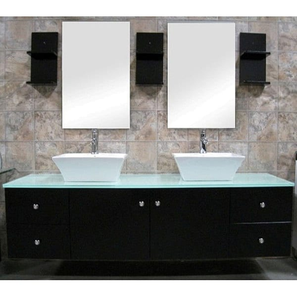 Double Vessel Sink Vanity. Design Element Contemporary Wall Mount Double Sink Vanity Vessel