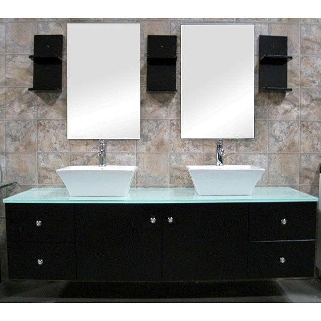 Design Element Contemporary Wall Mount Double Sink Vanity