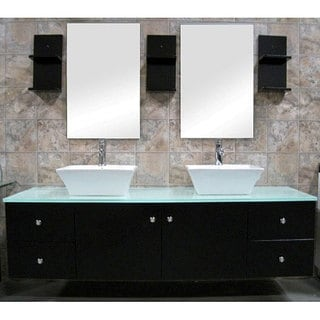 Design Element Contemporary Wall Mount Double Sink Vanity Vessel