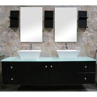 Design Element Contemporary Wall Mount Double Sink Vanity Vessel