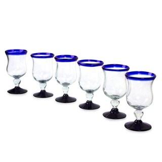 Handmade Set of 6 Spring Blue Wine Glasses (Mexico)