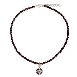 Link to Handmade Silver Garnet 'Lucky Charm' Choker (Thailand) Similar Items in Fashion Jewelry Store