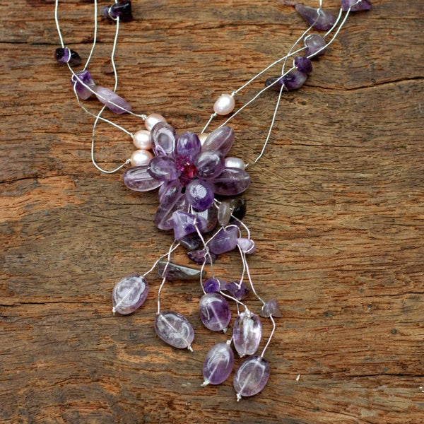 Handmade Amethyst and Pearl Fantasy Freshwater Pearl Purple Gemstone Gosammer Necklace (Thailand)