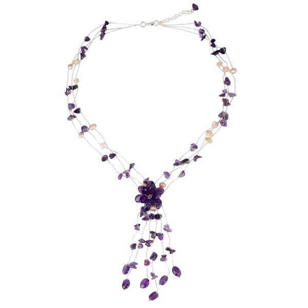Handmade Amethyst and Pearl Fantasy Freshwater Pearl Purple Gemstone Gosammer Necklace (Thailand)