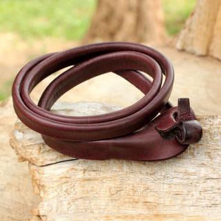 Triple Twist Unique Polished Brown Leather Handmade Artisan Wristband Wrap Bracelet (Thailand)