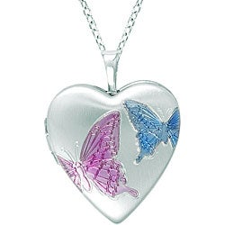 Sterling Silver Heart-shaped Butterfly Locket Necklace