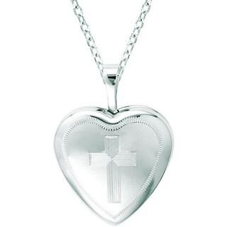 Sterling Silver Heart-shaped Cross Locket Necklace