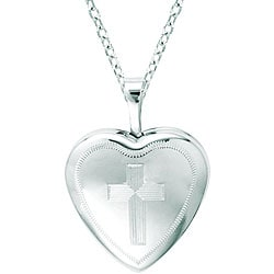 Sterling Silver Heart-shaped Cross Locket Necklace