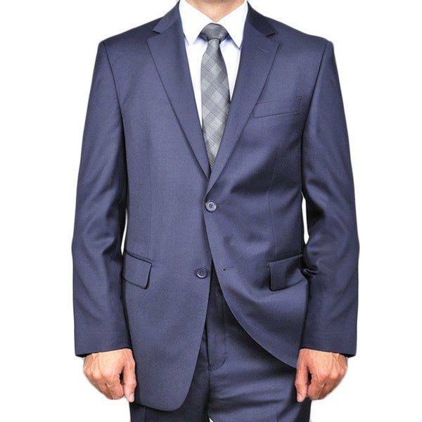 Men's Solid Navy Blue 2-button Wool Suit - Free Shipping Today ...