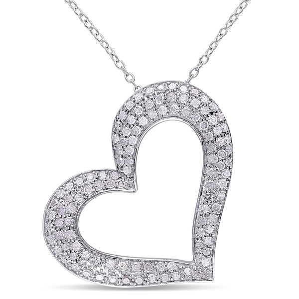 Sterling Silver 1ct TDW Diamond Heart Necklace