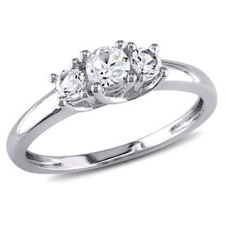Miadora 10k White Gold Created White Sapphire Ring