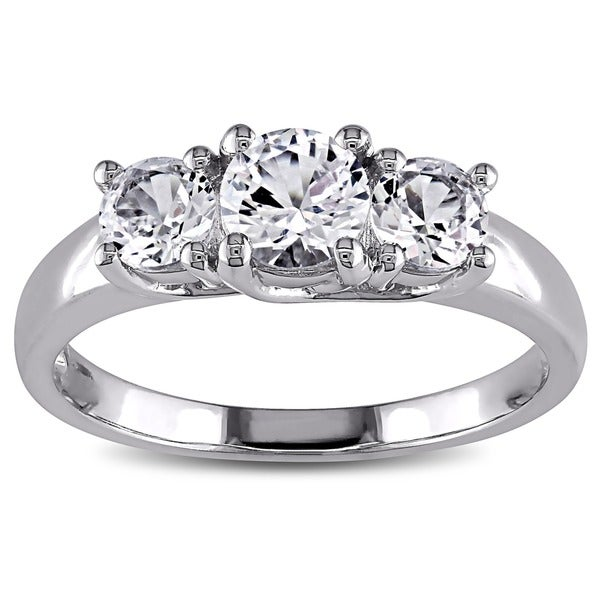 Miadora 10k White Gold 1 1/3ct TW Created White Sapphire 3-stone Engagement Ring