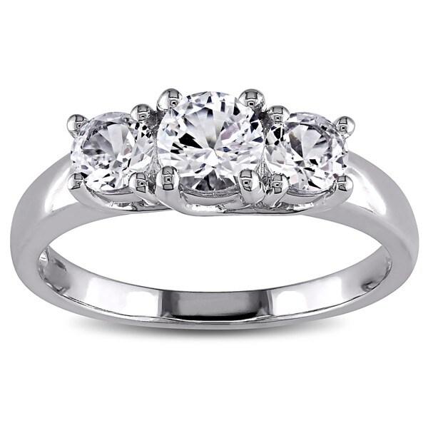 Miadora 10k White Gold Created 3-stone White Sapphire Ring