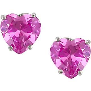 Miadora 10k Gold Created Pink Sapphire Heart Stud Earrings