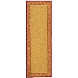 Safavieh Indoor/ Outdoor Oceanview Natural/ Red Runner (2'4 x 6'7)