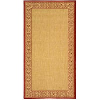 Safavieh Oceanview Natural/ Red Indoor/ Outdoor Rug - 4' x 5'7