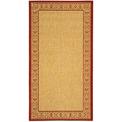 Safavieh Indoor/ Outdoor Oceanview Natural/ Red Rug (5'3 x 7'7)