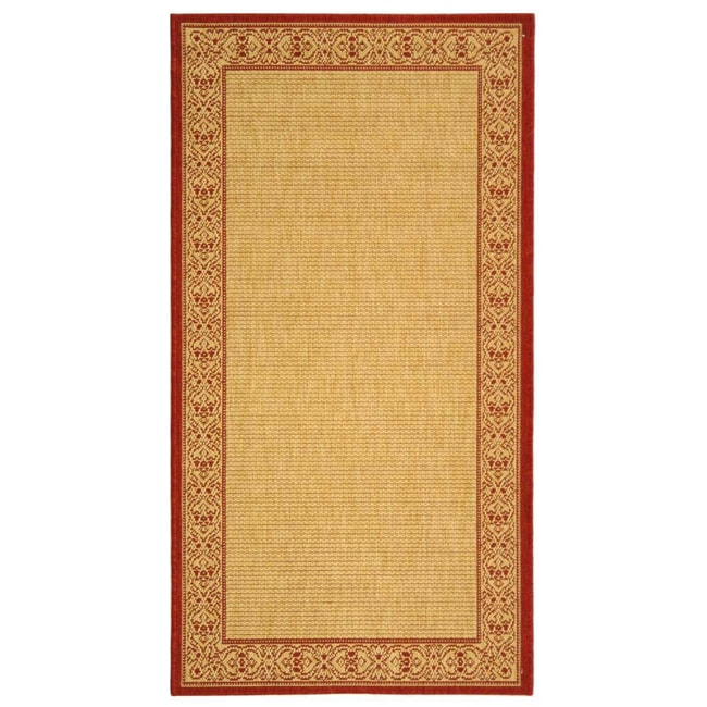 Safavieh Oceanview Natural/ Red Indoor/ Outdoor Rug - 6'7 x 9'6