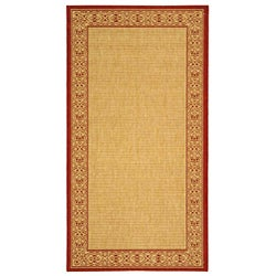 Safavieh Indoor/ Outdoor Oceanview Natural/ Red Rug (6'7 x 9'6)