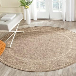 Safavieh Indoor/ Outdoor Summer Brown/ Natural Rug (5'3 Round)