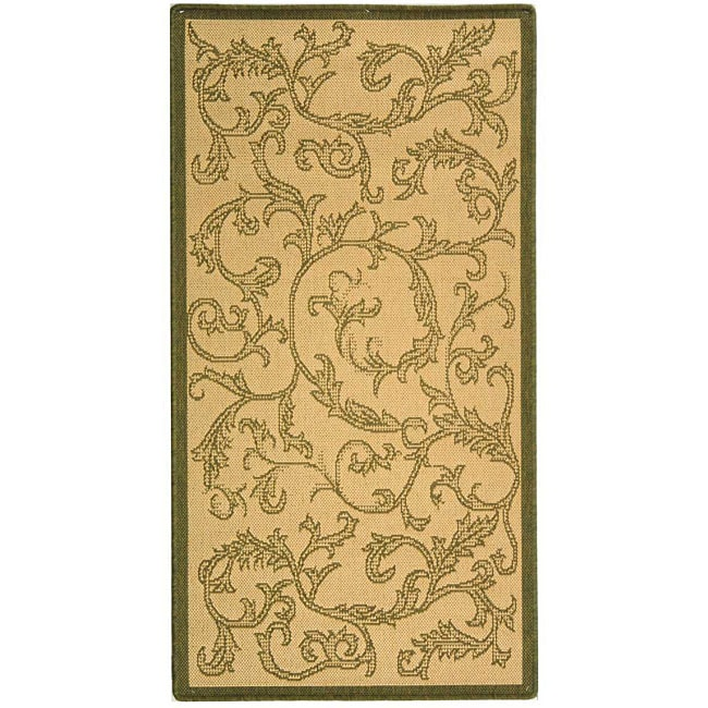 Safavieh Mayaguana Natural/ Olive Green Indoor/ Outdoor Rug (4' x 5'7)