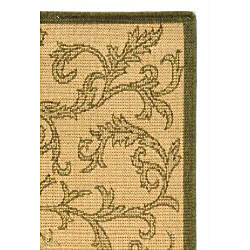 Safavieh Mayaguana Natural/ Olive Green Indoor/ Outdoor Rug (4' x 5'7) - Thumbnail 1