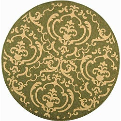 Safavieh Bimini Damask Olive Green/ Natural Indoor/ Outdoor Rug (5'3 Round)