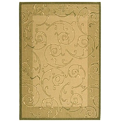 Safavieh Oasis Scrollwork Natural/ Olive Green Indoor/ Outdoor Rug (4' x 5'7)