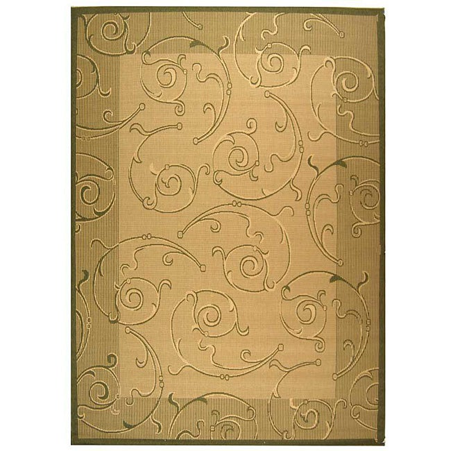 Safavieh Oasis Scrollwork Natural/ Olive Green Indoor/ Outdoor Rug (8' x 11')