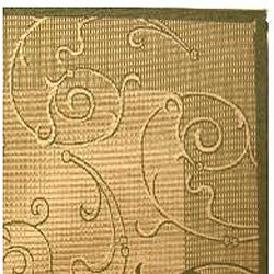 Safavieh Oasis Scrollwork Natural/ Olive Green Indoor/ Outdoor Rug (8' x 11') - Thumbnail 1