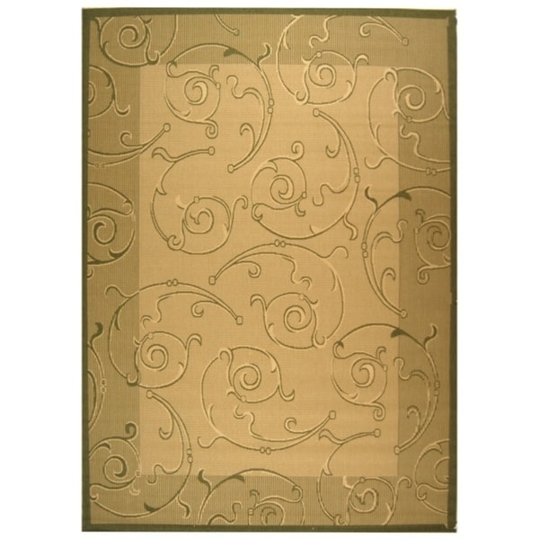 Safavieh Oasis Scrollwork Natural/ Olive Green Indoor/ Outdoor Rug - 8' X 11'