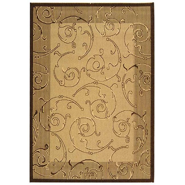Safavieh Oasis Scrollwork Natural/ Brown Indoor/ Outdoor Rug (4' x 5'7)