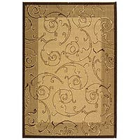 Safavieh Oasis Scrollwork Natural/ Brown Indoor/ Outdoor Rug - 4' x 5'7