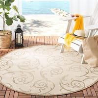 "Safavieh Oasis Scrollwork Natural/ Brown Indoor/ Outdoor Rug - 6'7"" x 6'7"" round"